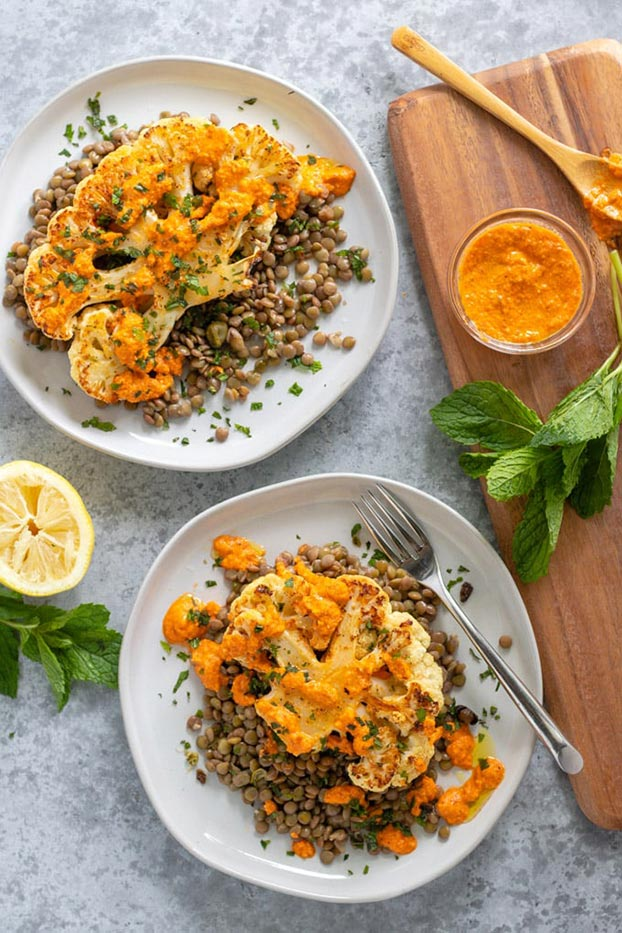 Cauliflower Steak With Lentils + Red Pepper Sauce - High Protein Vegetarian Recipes | hurrythefoodup.com