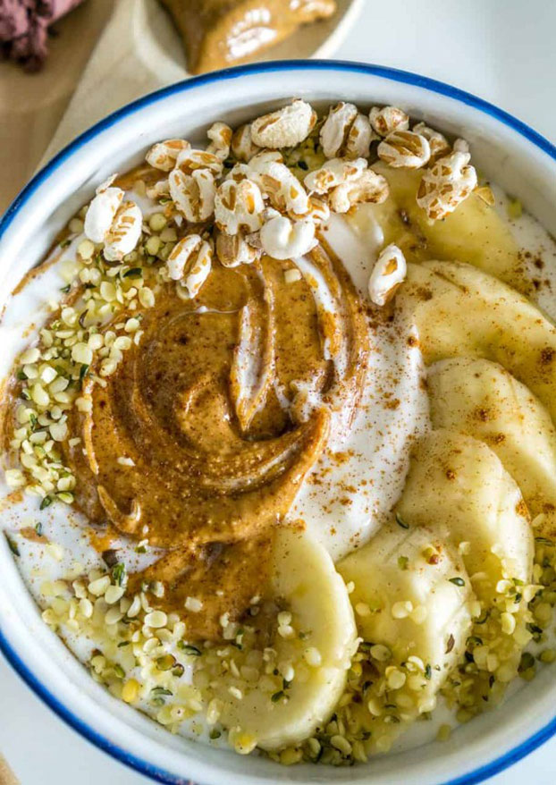 Whipped Cottage Cheese with Almond Butter and Bananas - High Protein Vegetarian Recipes | hurrythefoodup.com