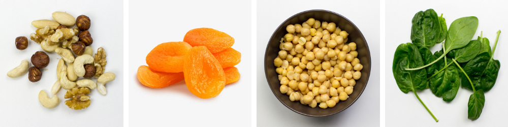 vegan sources of iron including chickpeas and nuts