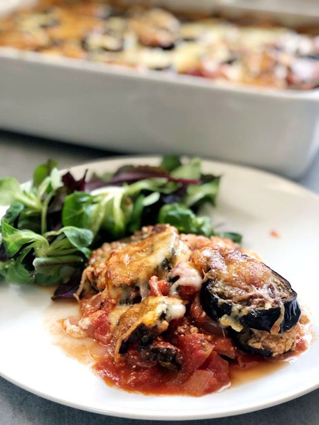 Top 10 Vegetarian Keto Recipes - Three Cheese Melanzane Parmigiana | hurrythefoodup.com