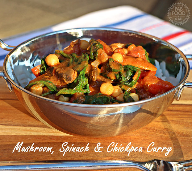 21 Vegetarian Curry Recipes - Mushroom, Spinach & Chickpea Curry   hurrythefoodup.com