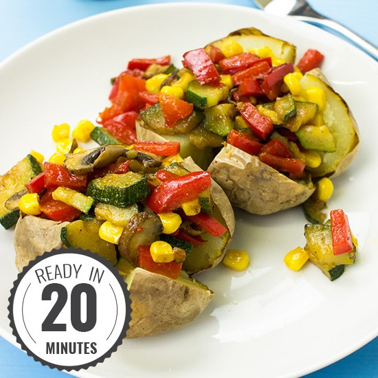 The Veggie King Microwave Baked Potato Recipe| hurrythefoodup.com