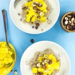 Bulgur Porridge - Reinventing Cereal – Bulgur Porridge serving #hazelnuts #peach   hurrythefoodup.com