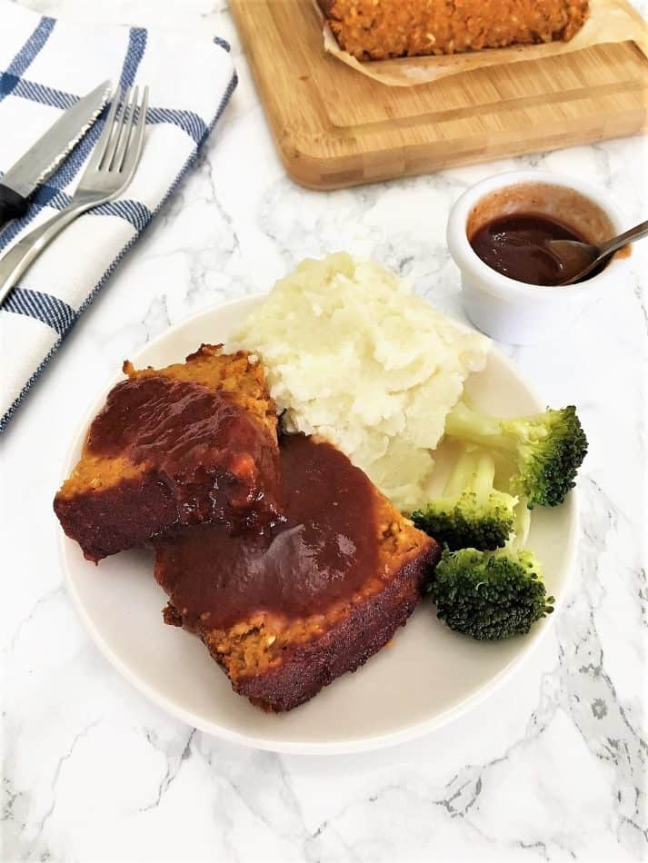 Chickpea Meatless Meatloaf with Smoked Maple Glaze | hurrythefoodup.com