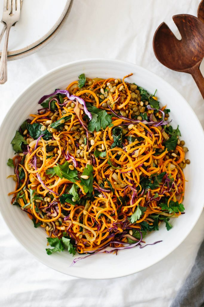 Sweet Potato Noodles Salad With Cabbage And Lentils | hurrythefoodup.com