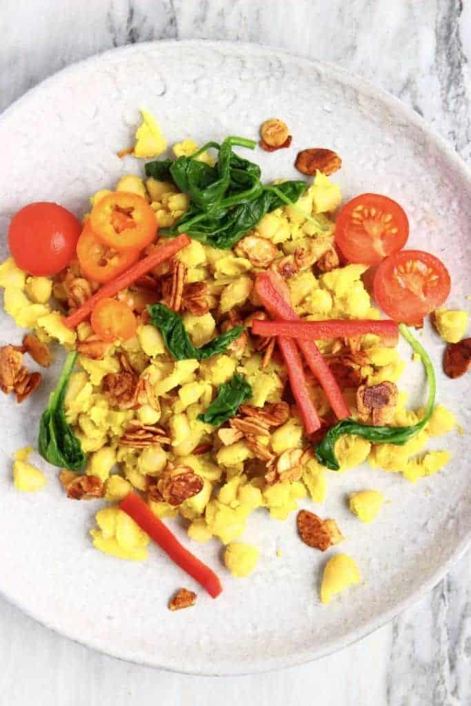 Vegan White Bean Scramble with Almond Bacon   hurrythefoodup.com