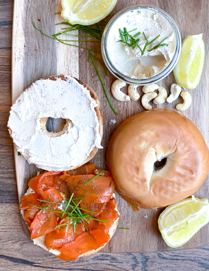 Vegan Bagel Sandwich With Vegan Lox & Cashew Cream Cheese | hurrythefoodup.com