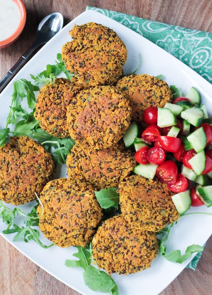 Baked Red Lentil Quinoa Fritters | hurrythefoodup.com