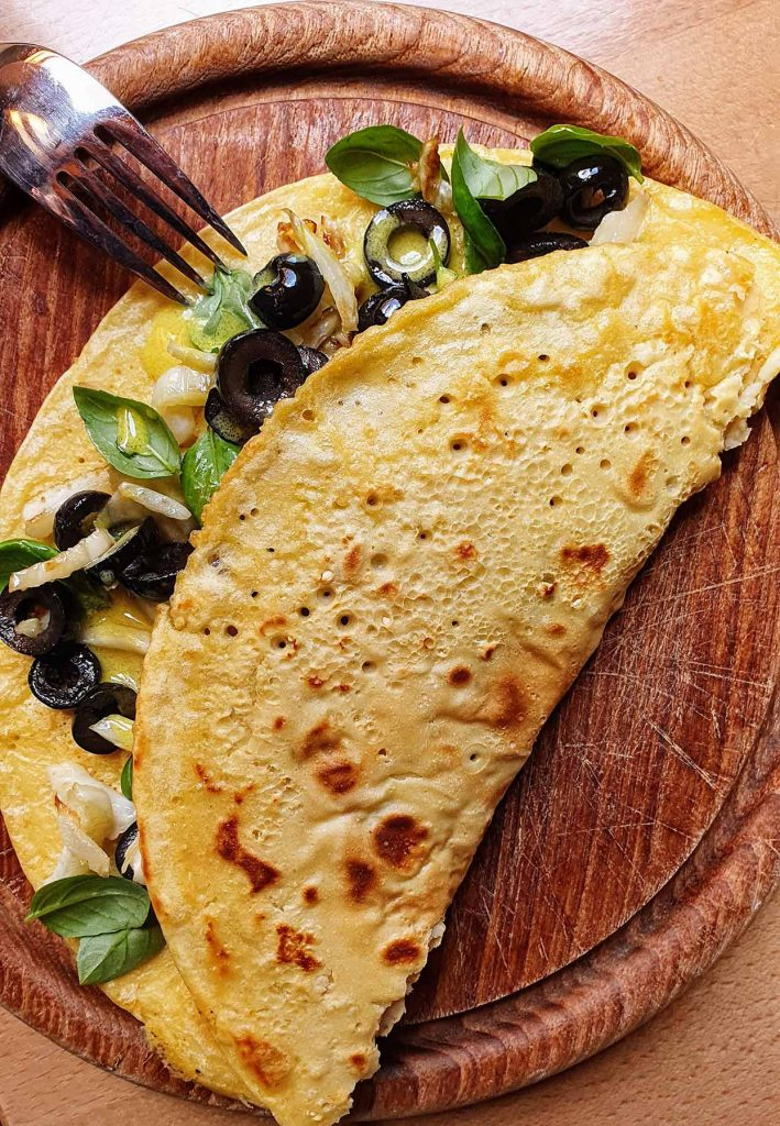 The pancake serving #chickpea flour #basil | hurrythefoodup.com
