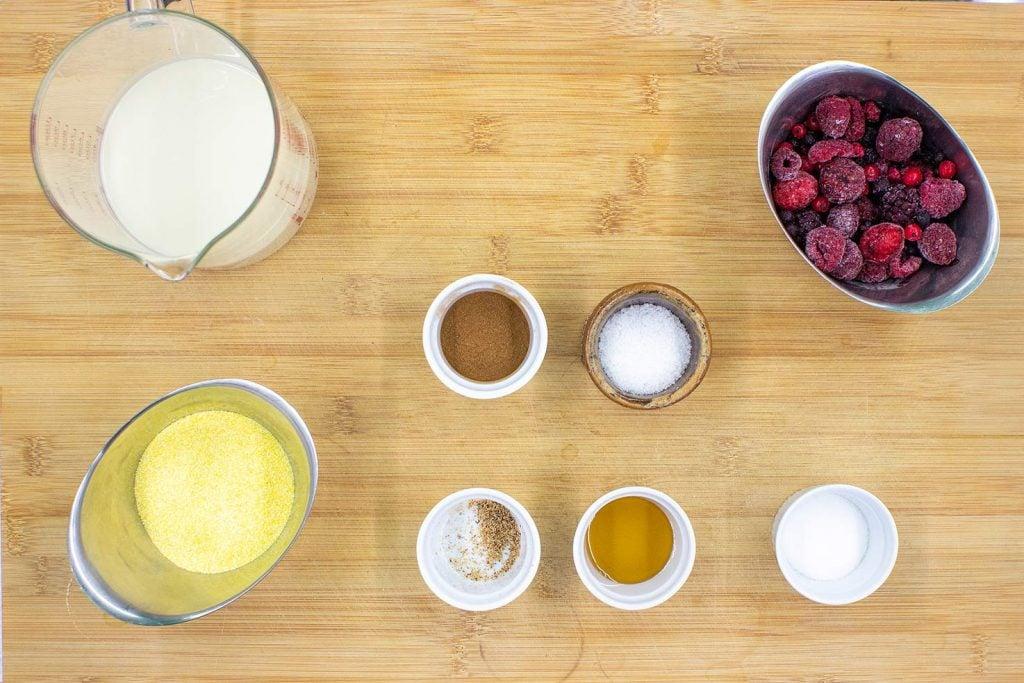 The recipe ingredients frozen fruits milk polenta#vanilla extract #cinnamon | hurrythefoodup.com