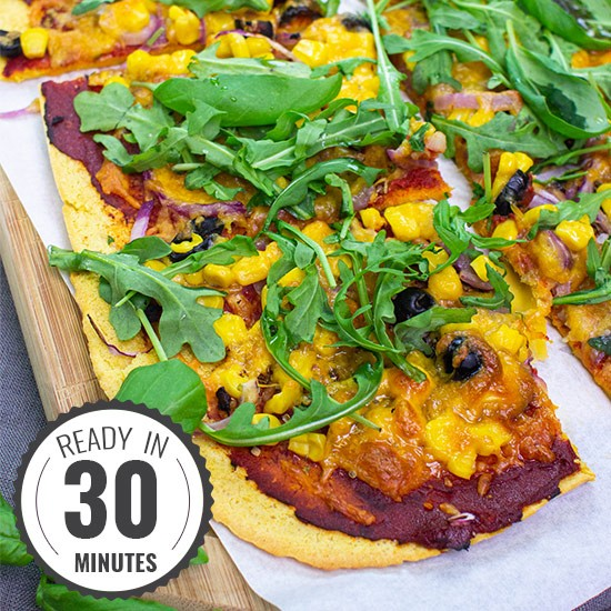 Simple Socca Pizza Recipe – gluten and grain-free, but still so indulgent | Hurry The Food Up
