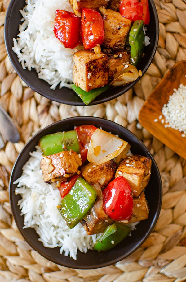 45 most popular vegan dinners – Tofu Bell Pepper Stir Fry | Hurry The Food Up