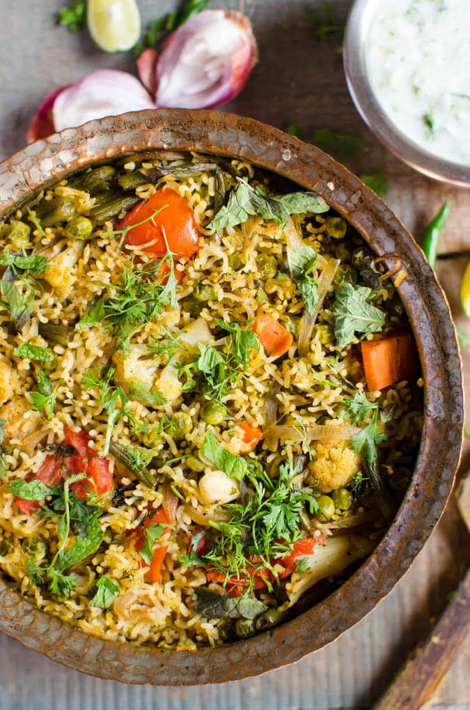 55 Vegetarian Indian Recipes – One Pot Vegetable Biryani | Hurry The Food Up
