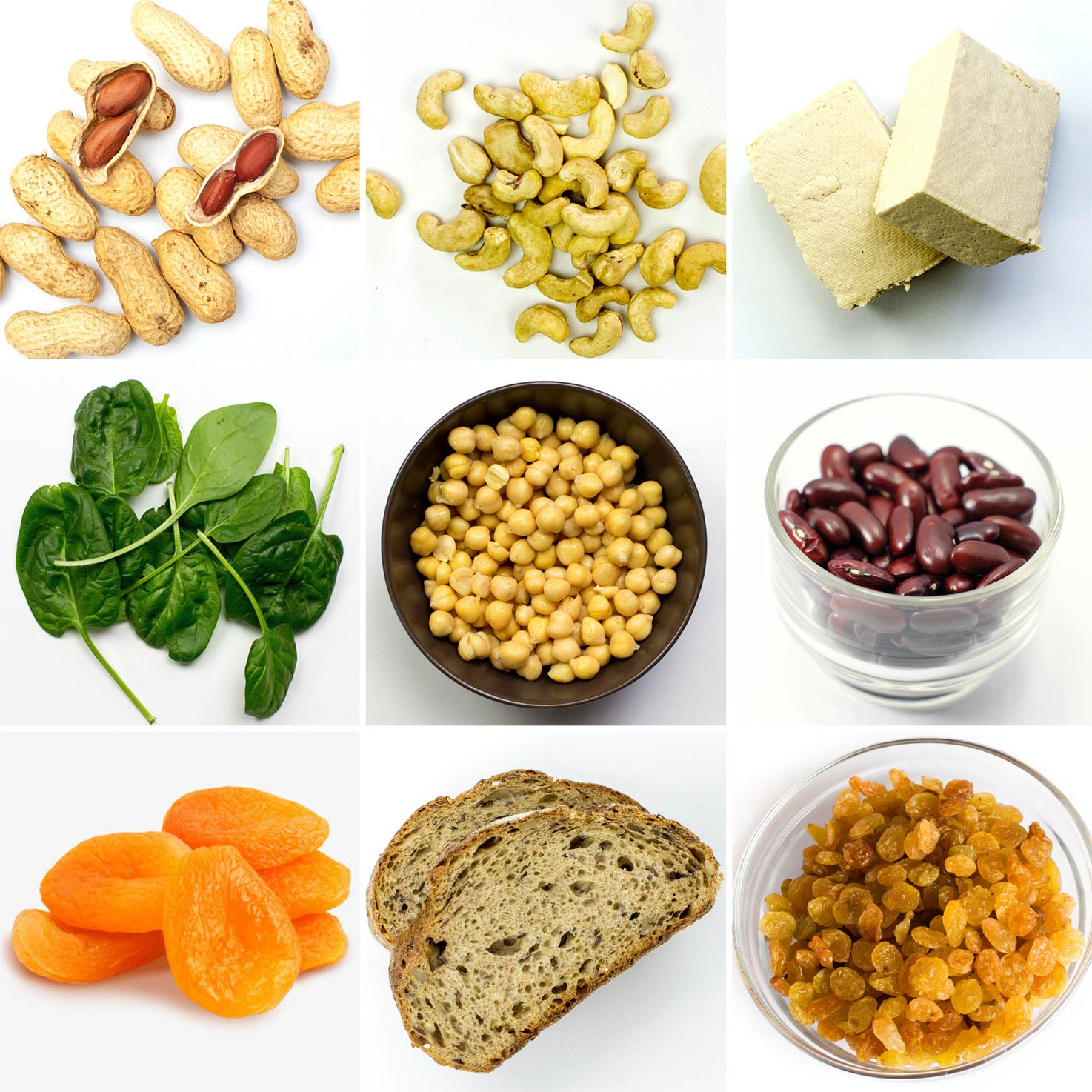 Vegetarian sources of Iron: chickpeas, kidney beans, peanuts, tofu, raisins, bread | hurrythefoodup.com