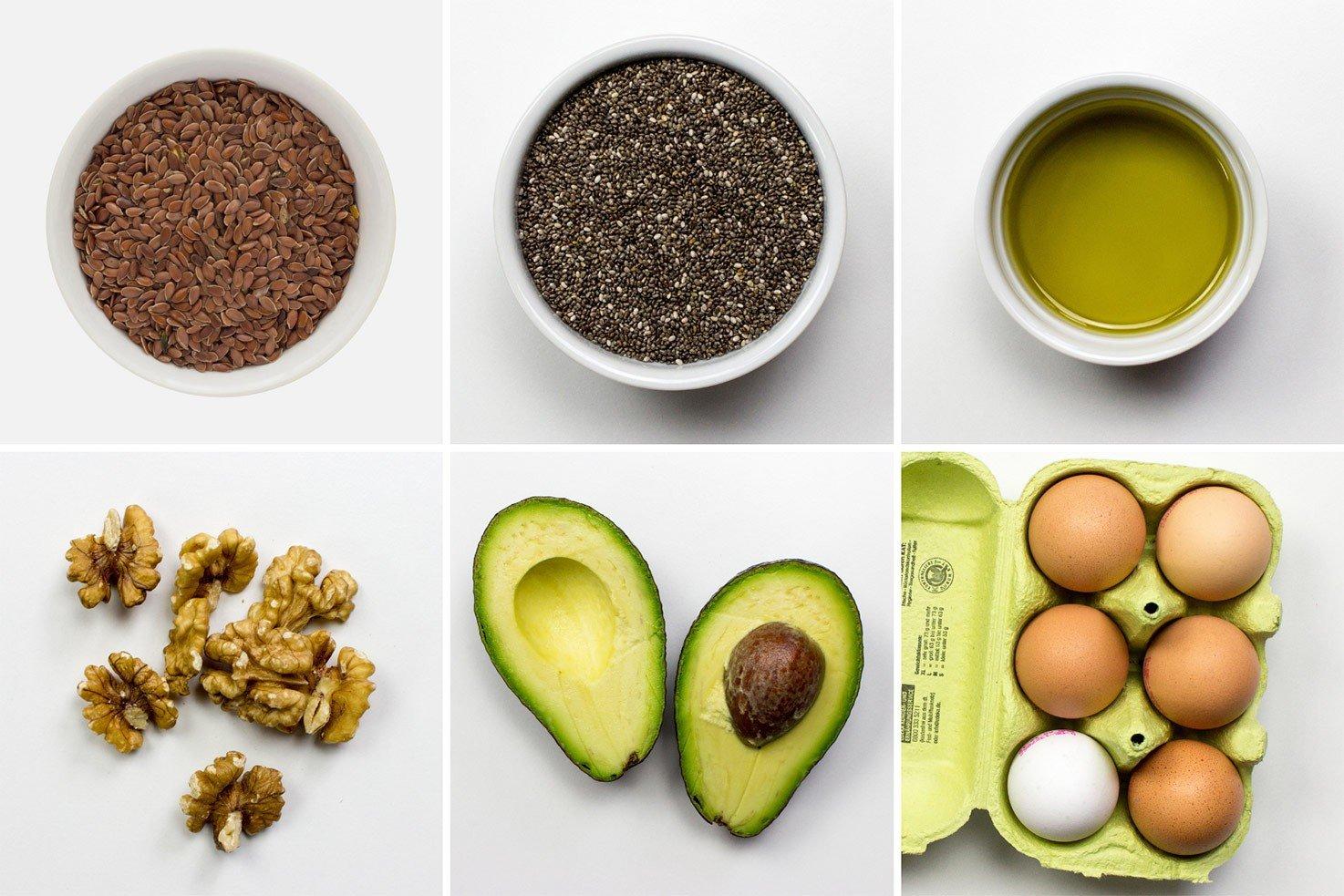 Vegetarian sources of Omega-3: flax seeds, chia seeds, olive oil, walnuts, avocado, eggs | hurrythefoodup.com