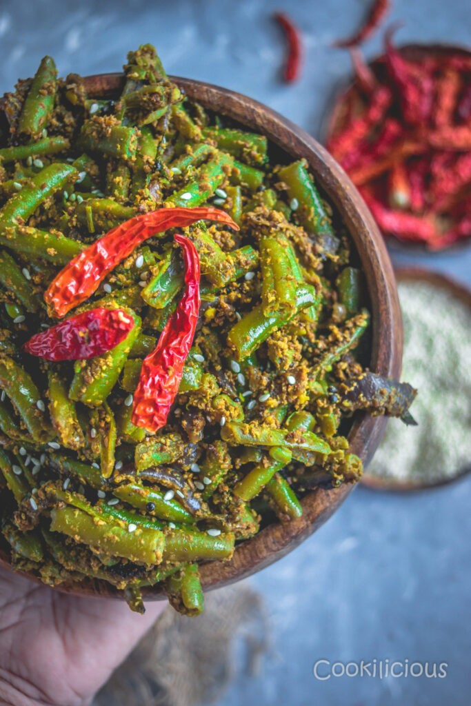 50 Vegan Indian Recipes – From comforting meals to showstopper desserts - Sesame Flavored Green Beans Stir Fry | Hurry The Food Up