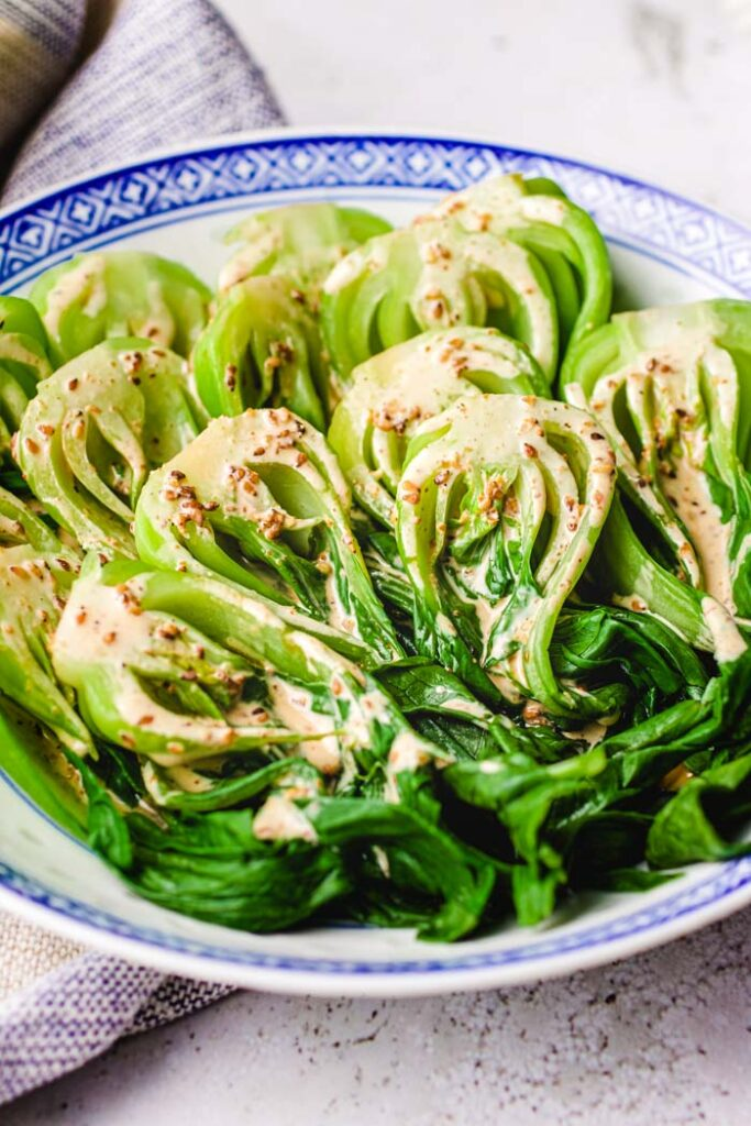 Top 10 Most Popular Vegan Keto Recipes - Delicious and satisfying - Bok Choy Salad (Pak Choi) with Toasted Sesame Dressing | Hurry The Food Up