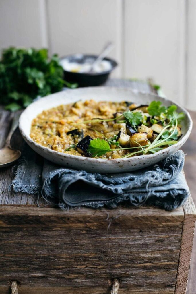 50 Vegan Indian Recipes – From comforting meals to showstopper desserts - Masoor Dal with Roasted Eggplant | Hurry The Food Up