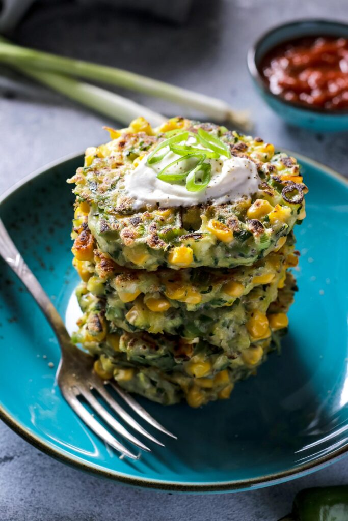 50 Easy Vegan Lunch Ideas – Making lunch vibrant, exciting and delicious – Vegan Zucchini Corn Fritters | Hurry The Food Up