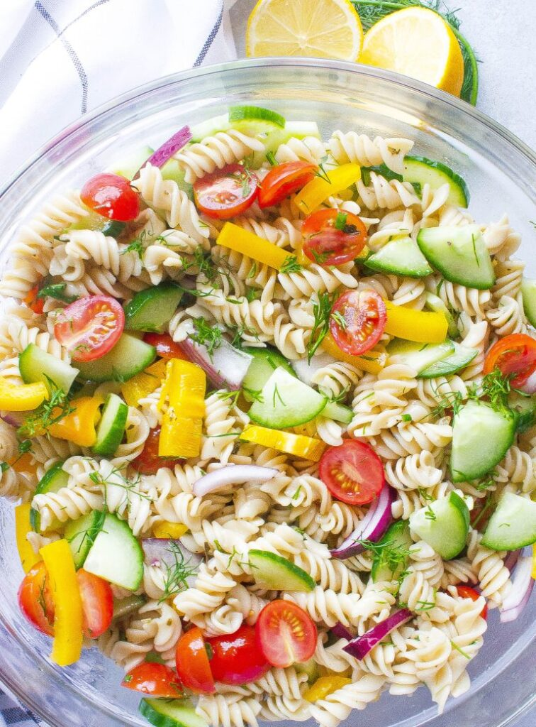 50 Easy Vegan Lunch Ideas – Making lunch vibrant, exciting and delicious – Vegetable Herb Pasta Salad | Hurry The Food Up