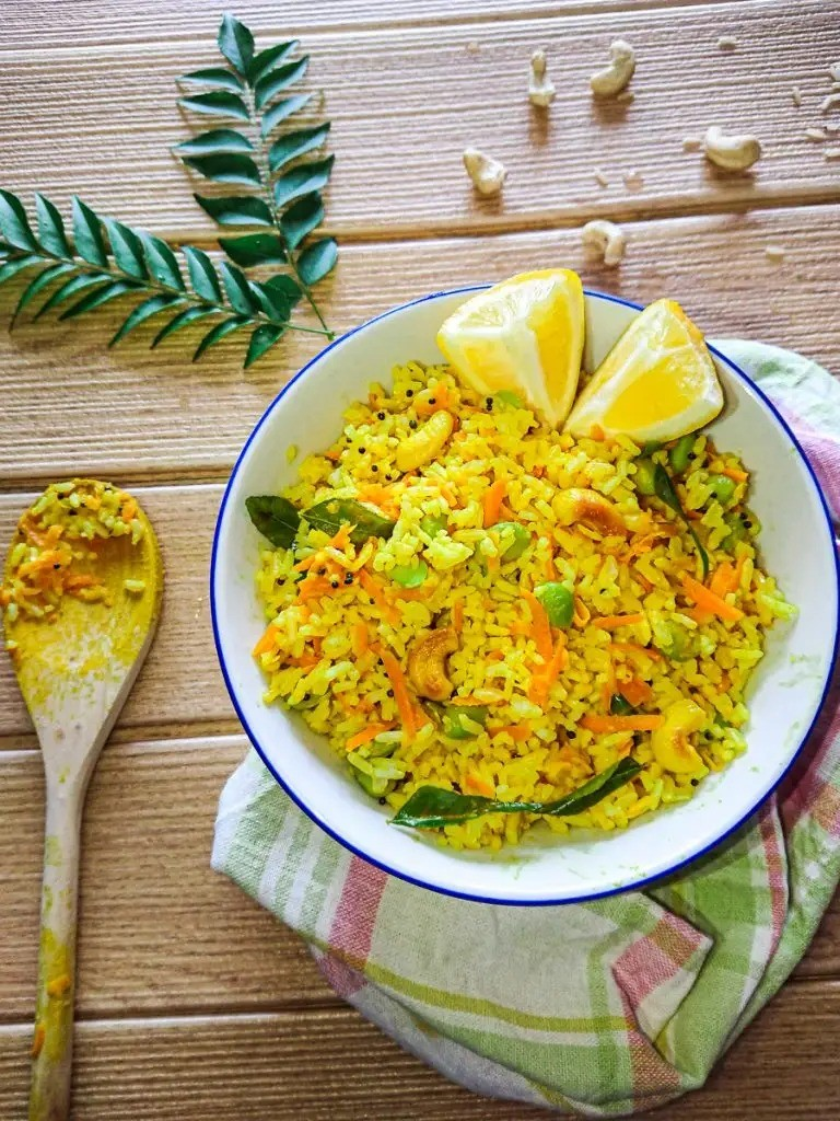 50 Vegan Indian Recipes – From comforting meals to showstopper desserts - Lemon Rice with Brown Rice | Hurry The Food Up