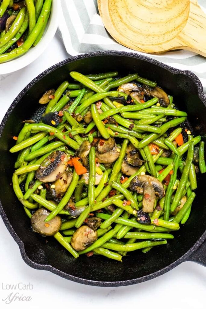 Top 10 Most Popular Vegan Keto Recipes - Delicious and satisfying - Sauteed Green Beans And Mushrooms   Hurry The Food Up