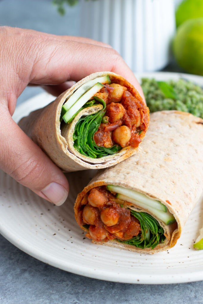 50 Easy Vegan Lunch Ideas – Making lunch vibrant, exciting and delicious – Smoky Chickpea Lavash Wrap | Hurry The Food Up