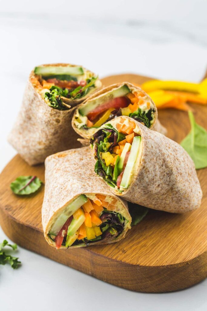 60 Vegan Weight Loss Recipes – Still delicious, just healthier - Hummus Veggie Wrap | Hurry The Food Up
