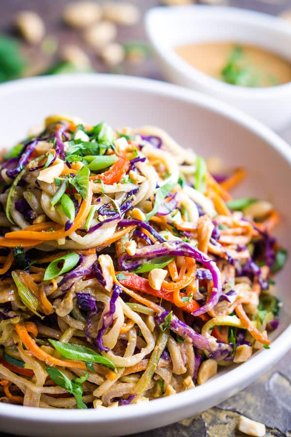 60 Vegan Weight Loss Recipes – Still delicious, just healthier - Thai Peanut Zucchini Noodles | Hurry The Food Up