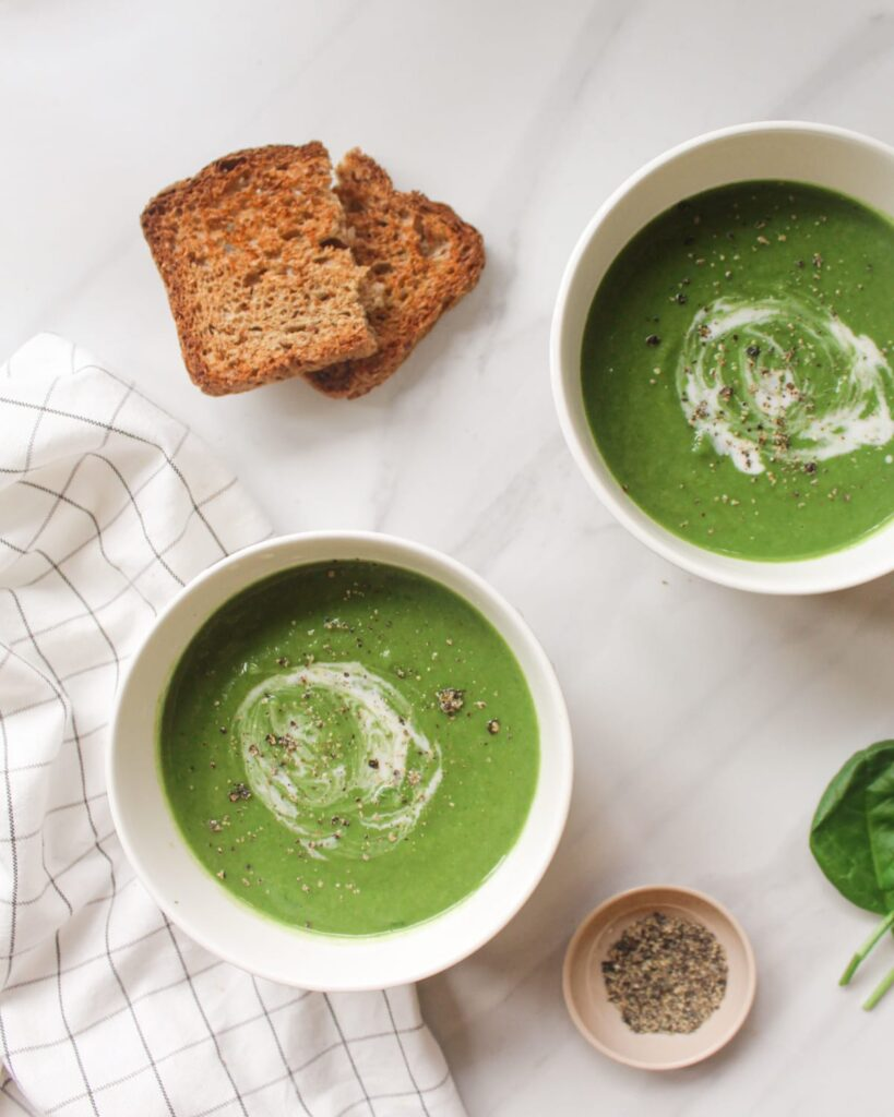 60 Vegan Weight Loss Recipes – Still delicious, just healthier - Vegan Cream of Spinach Soup with White Beans | Hurry The Food Up
