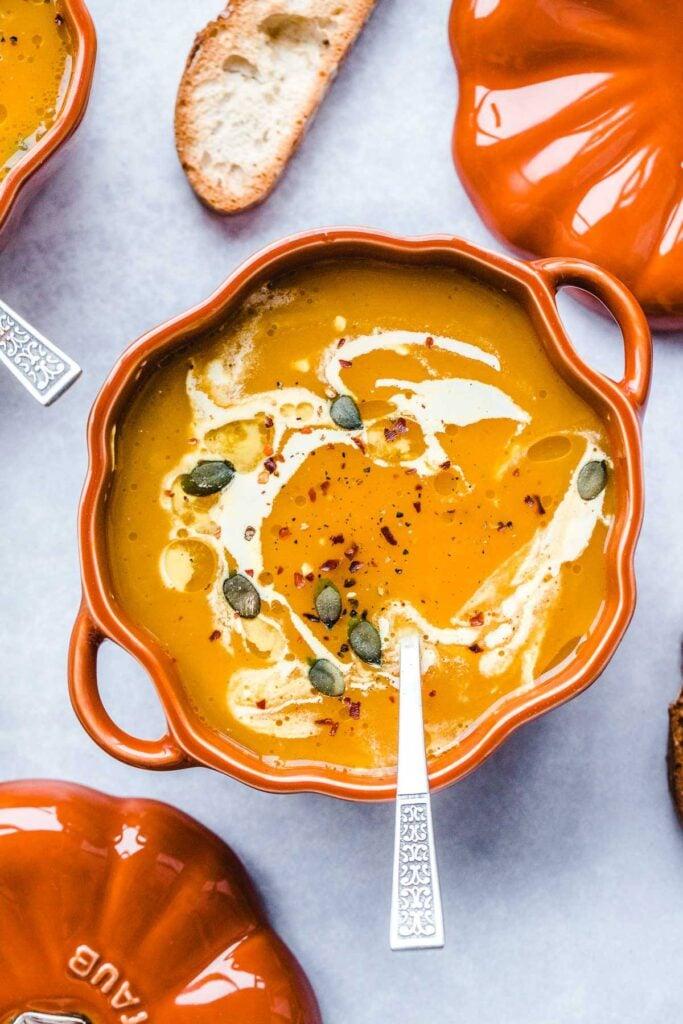 60 Vegan Weight Loss Recipes – Still delicious, just healthier - Vegan Pumpkin Soup | Hurry The Food Up