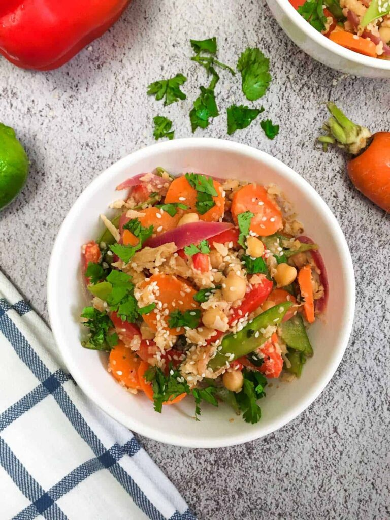 60 Vegan Weight Loss Recipes – Still delicious, just healthier - Asian Cauliflower Rice Stir Fry with Peanut Sauce | Hurry The Food Up