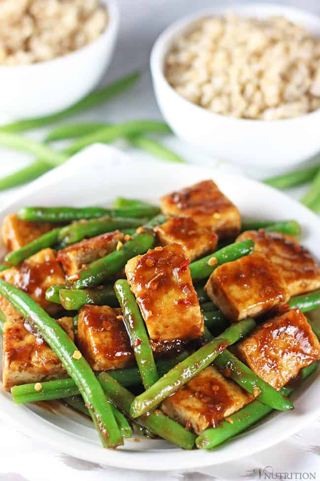 60 Vegan Weight Loss Recipes – Still delicious, just healthier - Tofu Green Bean Stir Fry | Hurry The Food Up