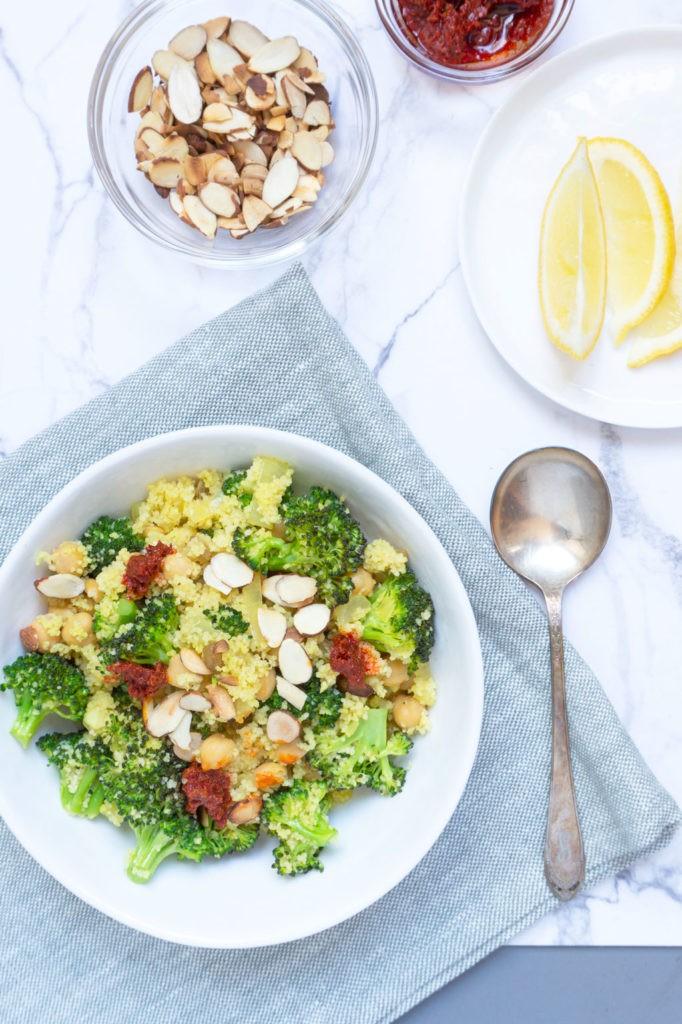 40 Vegan Broccoli Recipes – Plant-based plants - Vegan Broccoli Salad with Couscous, Raisins + Almonds | Hurry The Food Up