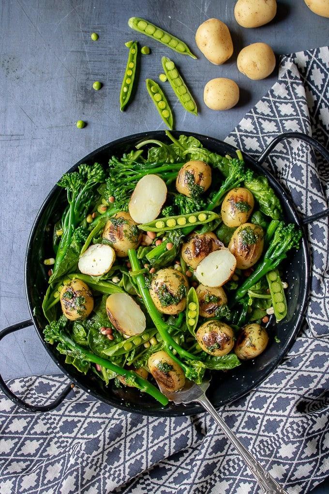 40 Vegan Broccoli Recipes – Plant-based plants - Broccoli Salad with Potatoes, Peas and Herbs | Hurry The Food Up