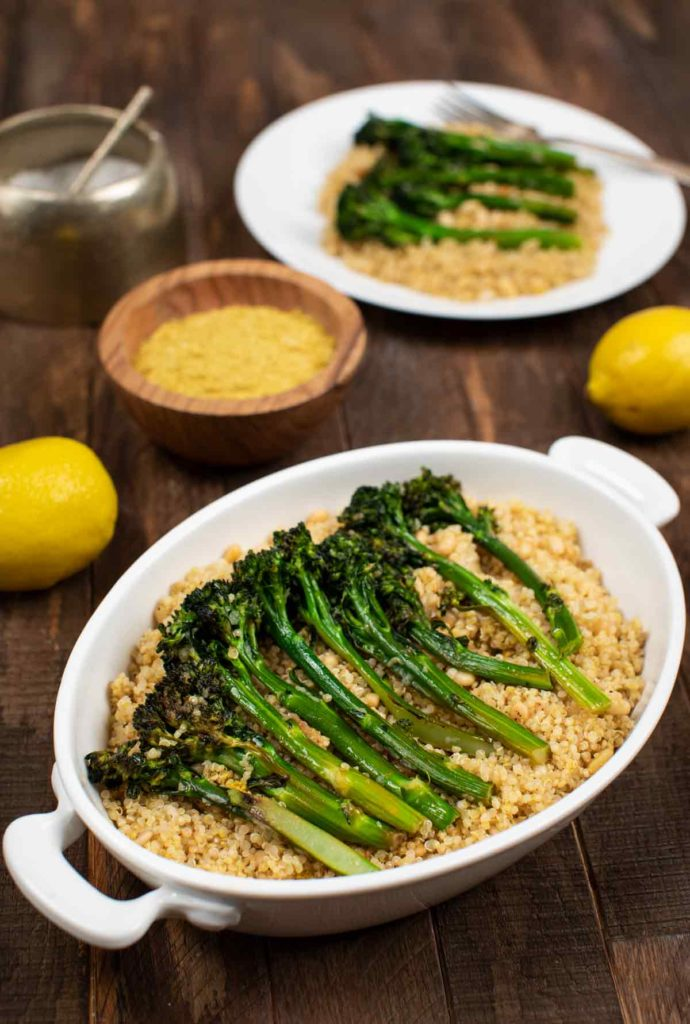 40 Vegan Broccoli Recipes – Plant-based plants - Charred Broccolini With Garlic And Quinoa | Hurry The Food Up