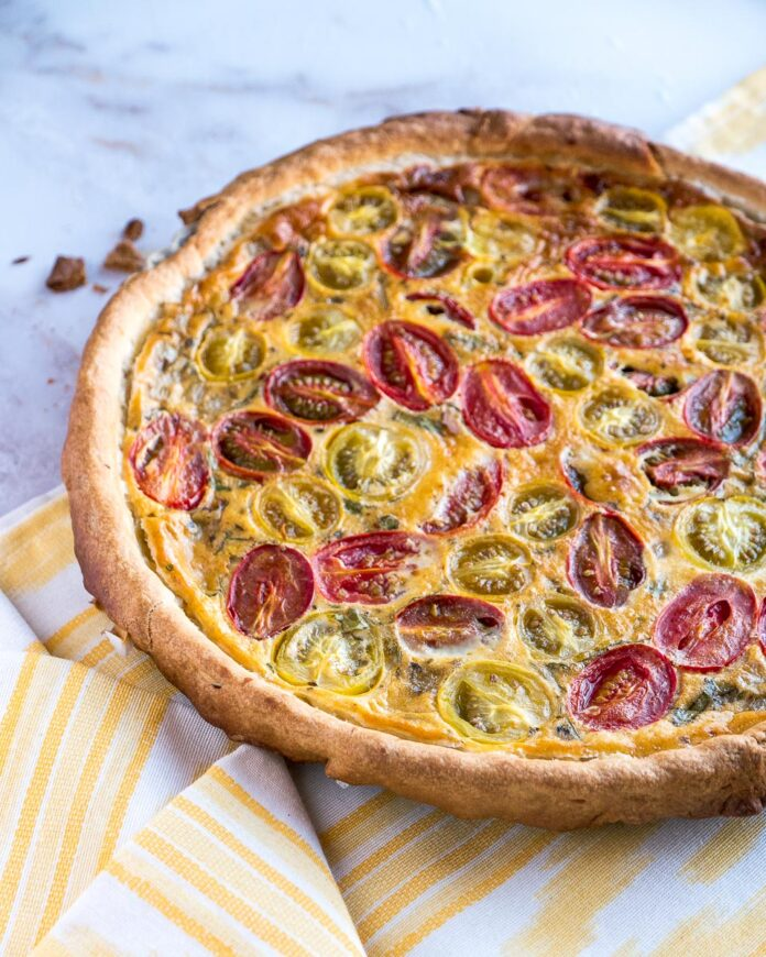 40 Sweet and Savory Vegetarian Pies – Bake your weekend away - Cherry Tomato and Basil Quiche | Hurry The Food Up
