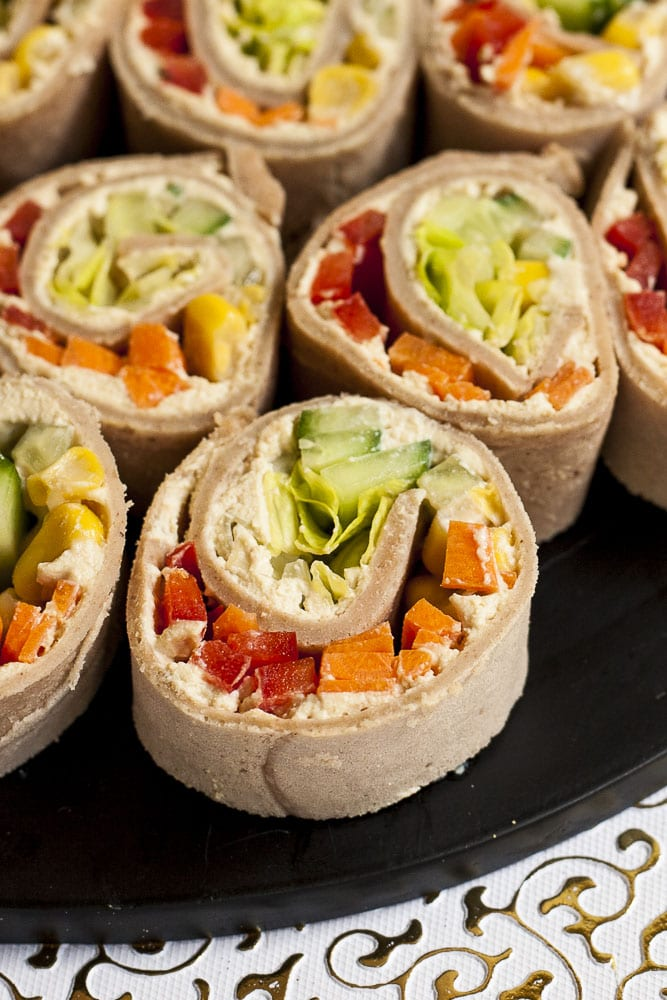 62 Vegan Tofu Recipes - Cream Cheese Pinwheels with Fresh Veggies   Hurry The Food Up