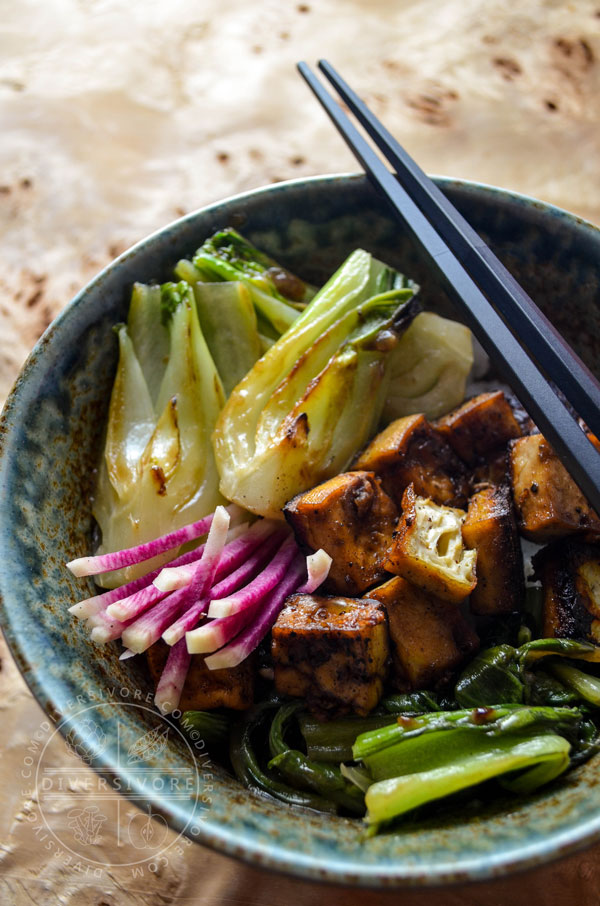 62 Vegan Tofu Recipes - Five-spice Baked Tofu with Seared Bok Choy   Hurry The Food Up