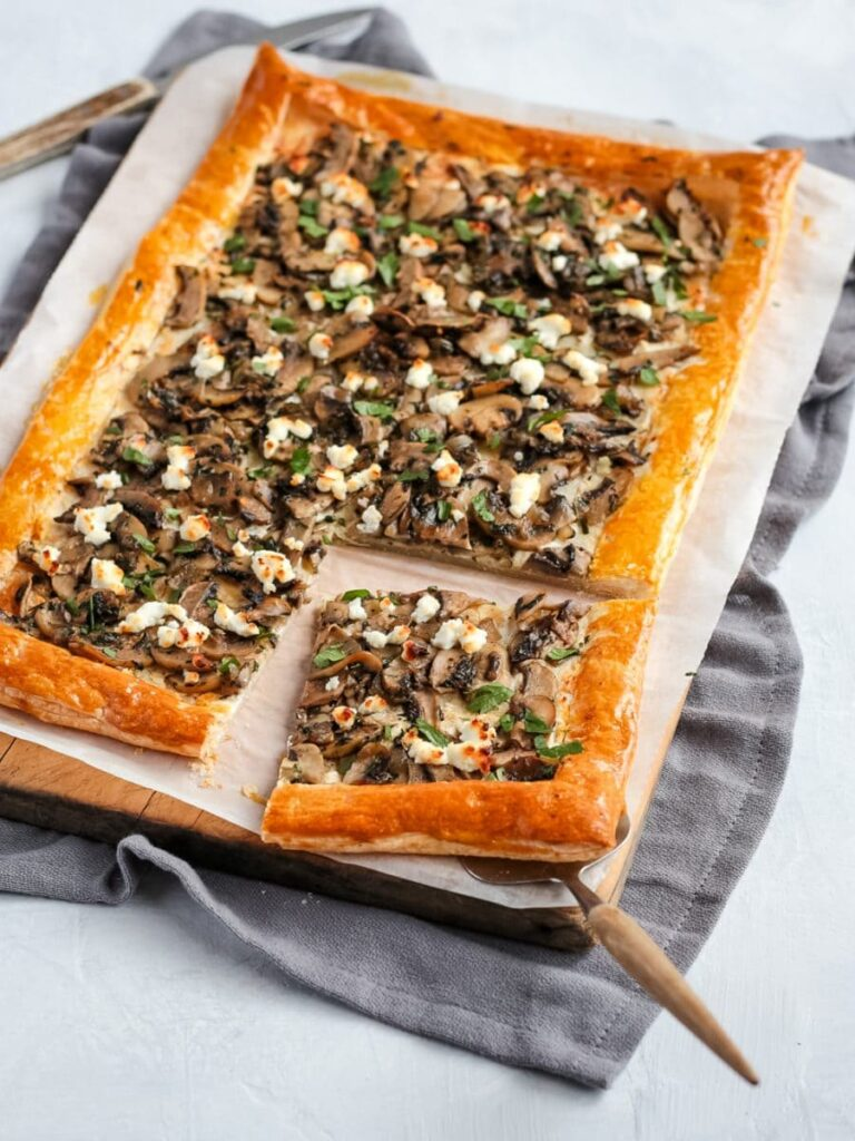 40 Sweet and Savory Vegetarian Pies – Bake your weekend away - Mushroom Tart with Puff Pastry | Hurry The Food Up
