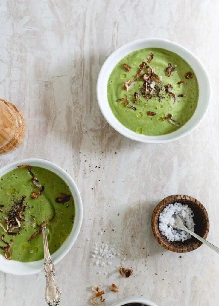 40 Vegan Broccoli Recipes – Plant-based plants - Creamy Broccoli Soup With Crispy Shallots | Hurry The Food Up