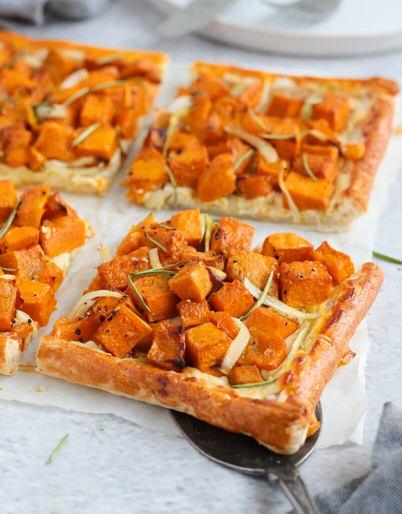 40 Sweet and Savory Vegetarian Pies – Bake your weekend away - Pumpkin Tart with Ricotta, Onion and Rosemary | Hurry The Food Up