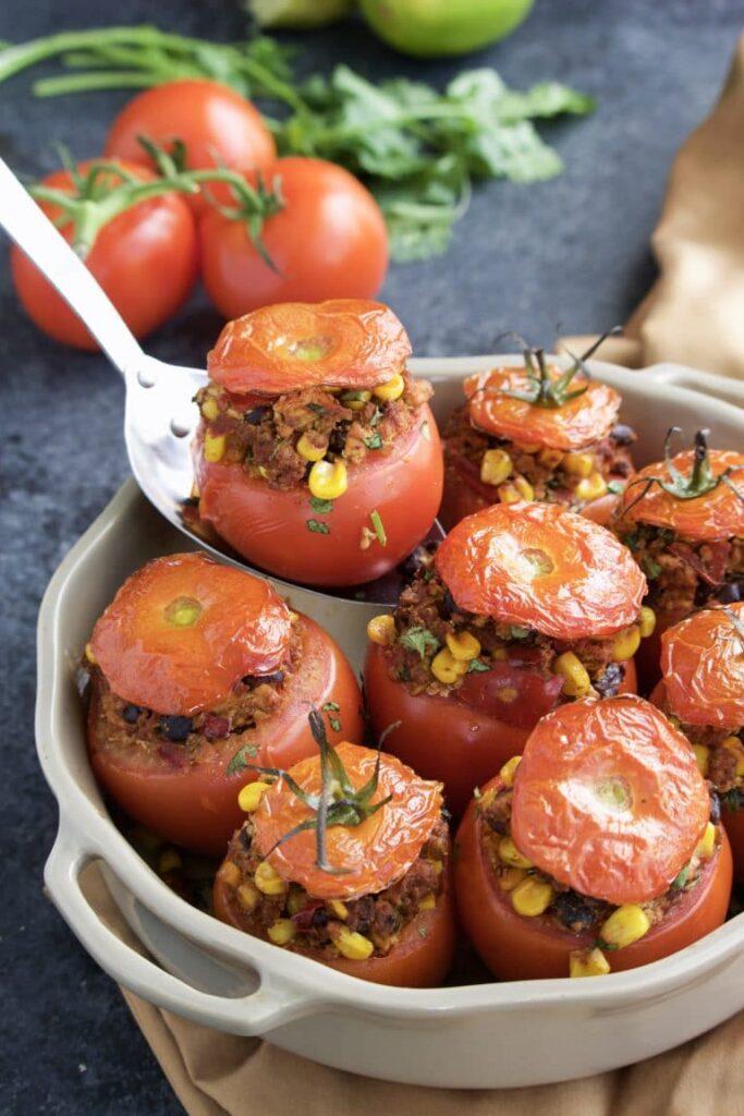 62 Vegan Tofu Recipes - Tofu Taco Stuffed Tomatoes   Hurry The Food Up