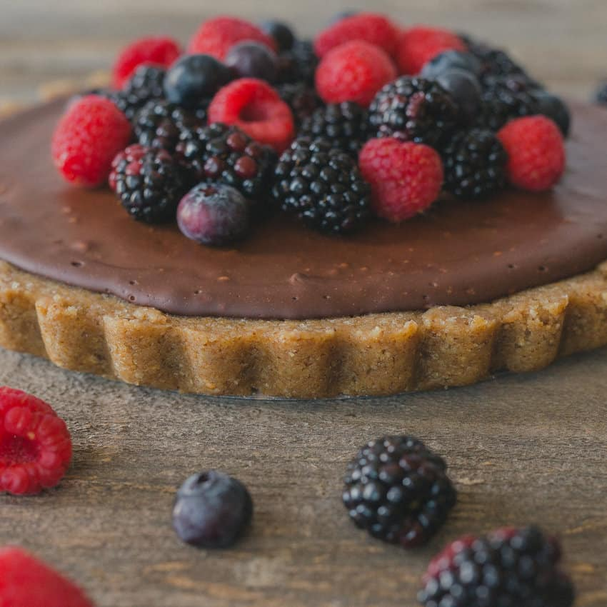 40 Sweet and Savory Vegetarian Pies – Bake your weekend away - Dark Chocolate Tart with Walnut Crust and Fresh Berries | Hurry The Food Up
