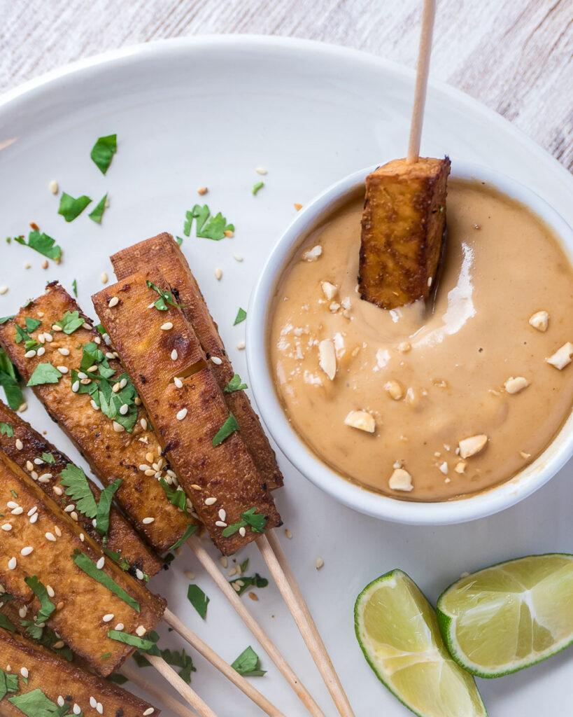 62 Vegan Tofu Recipes - Tofu Satay with Peanut Sauce   Hurry The Food Up
