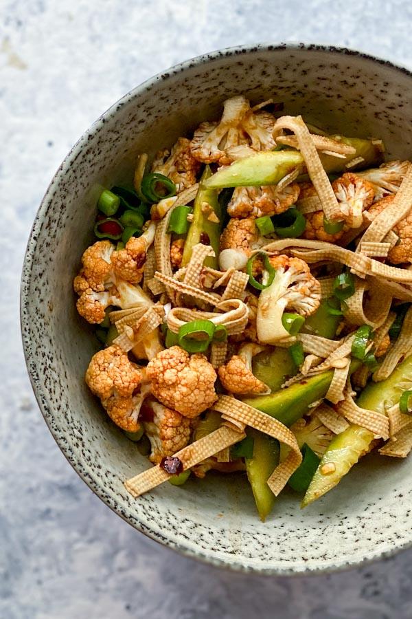 62 Vegan Tofu Recipes - Tofu Skin Salad with Cucumber and Cauliflower   Hurry The Food Up
