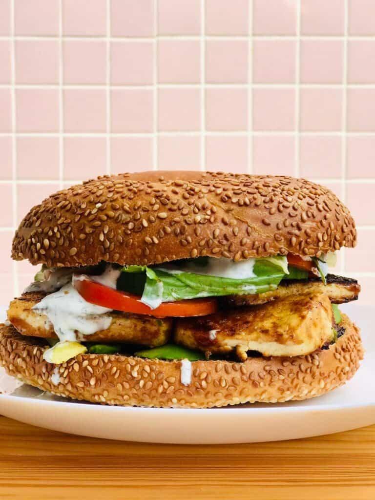 62 Vegan Tofu Recipes - Vegan Bagel Sandwich   Hurry The Food Up