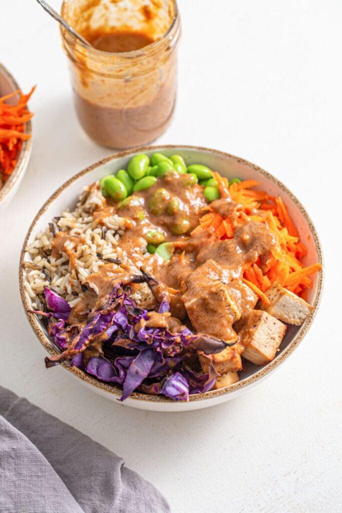 62 Vegan Tofu Recipes - Tofu Edamame Buddha Bowls   Hurry The Food Up