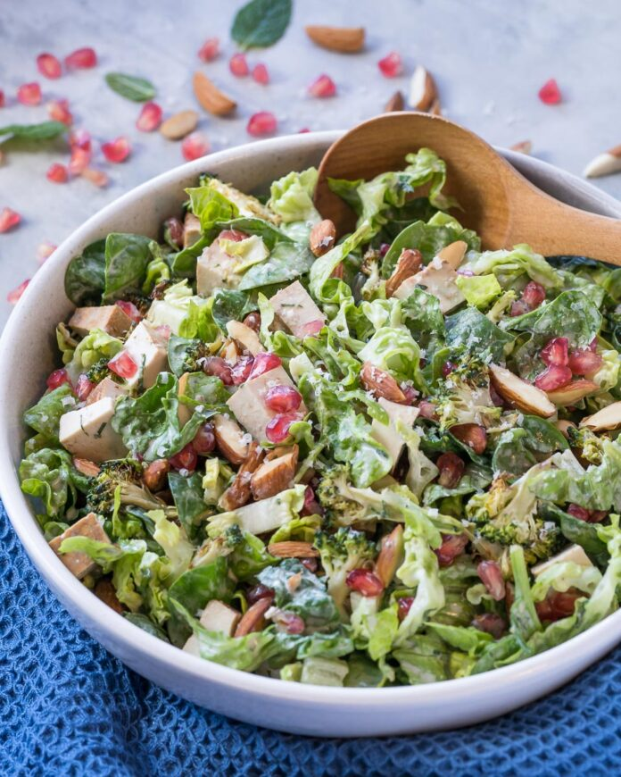 62 Vegan Tofu Recipes - Winter Salad with Broccoli and Pomegranate   Hurry The Food Up