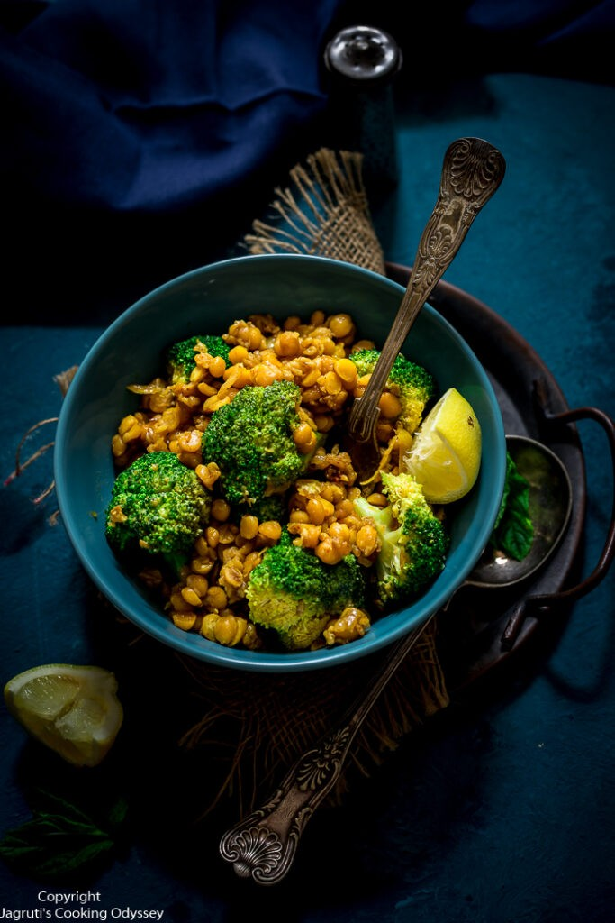 40 Vegan Broccoli Recipes – Plant-based plants - Superfood Broccoli, Bengal Gram and Fenugreek Seeds Stir-Fry with Indian Masala | Hurry The Food Up